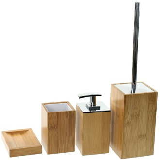 Wooden 4 Piece Bamboo Bathroom Accessory Set Gedy PO181-35