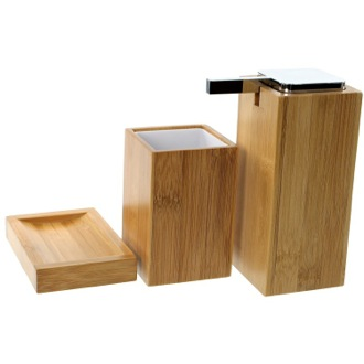 Wooden 3 Piece Bamboo Bathroom Accessory Set Gedy PO280-35