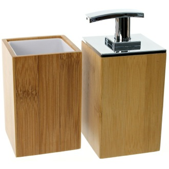 Wooden 2 Piece Bamboo Bathroom Accessory Set Gedy PO581-35