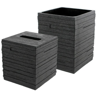 Quadrotto Black 2-Piece Bathroom Accessory Set Gedy QU1011-14