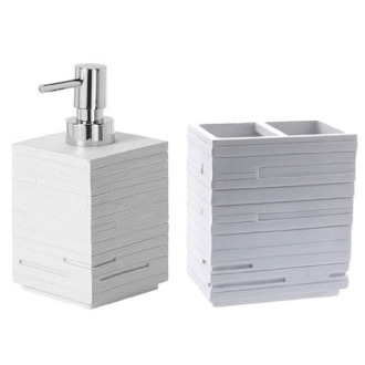 Quadrotto White Resin Soap Dispenser And Toothbrush Holder Set Gedy QU500-02