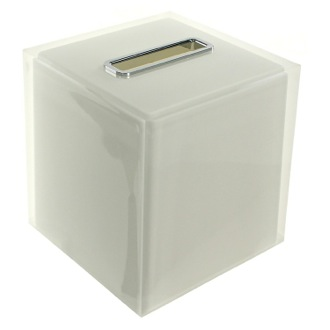 Tissue Box Cover Thermoplastic Resin Square Tissue Box Cover in White Finish Gedy RA02-02