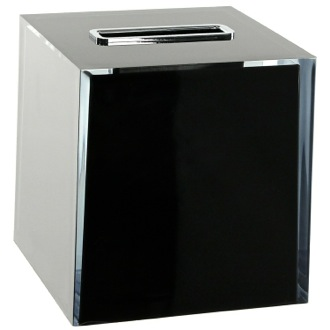 Thermoplastic Resin Square Tissue Box Cover in Black Finish Gedy RA02-14