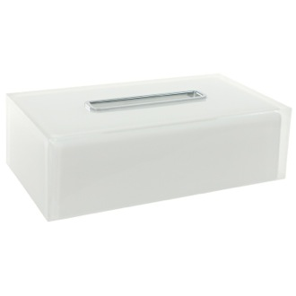 Tissue Box Cover Thermoplastic Resin Square Tissue Box Cover in White Finish Gedy RA08-02