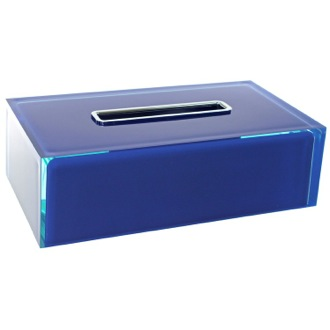 Tissue Box Cover Thermoplastic Resin Square Tissue Box Cover in Blue Finish Gedy RA08-05