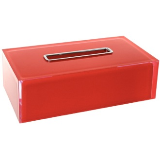 Thermoplastic Resin Rectangular Tissue Box Cover in Red Finish Gedy RA08-06
