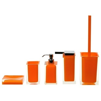Bathroom Accessory Set Rainbow Orange Accessory Set of Thermoplastic Resins Gedy RA300-67