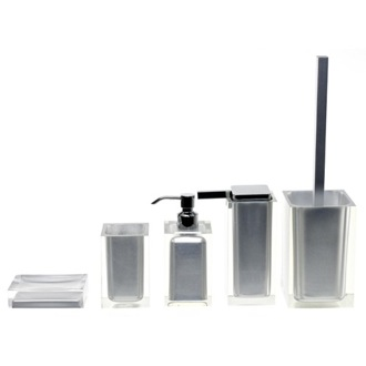 Bathroom Accessory Set Rainbow Silver Accessory Set of Thermoplastic Resins Gedy RA300-73
