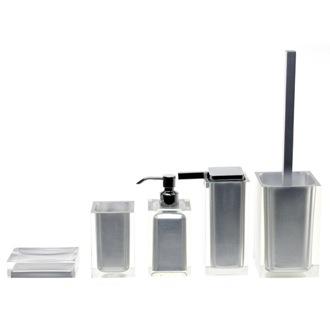 Bathroom Accessory Set Rainbow Silver Accessory Set Of Thermoplastic Resins  Gedy RA300 73