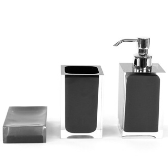 Bathroom Accessory Set Black 3 Piece Accessory Set of Thermoplastic Resins RA500-14 Gedy RA500-14