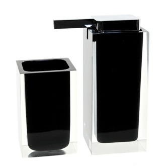 Bathroom Accessory Set Black Two Pc. Accessory Set Made With Thermoplastic Resins RA680-14 Gedy RA680-14