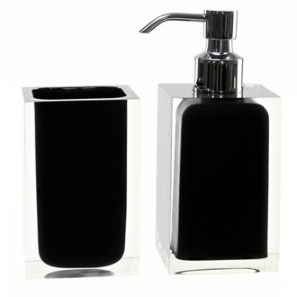 Bathroom Accessory Set Black 2 Pc. Accessory Set Made With Thermoplastic Resins RA681-14 Gedy RA681-14