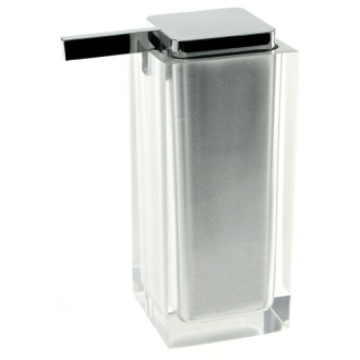 Soap Dispenser Square Silver Countertop Soap Dispenser Gedy RA80-73