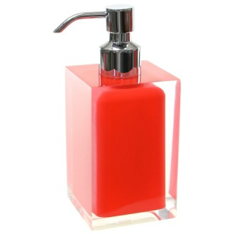 Square Red Countertop Soap Dispenser Gedy RA81-06