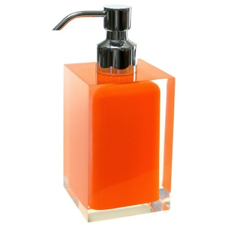 Square Orange Countertop Soap Dispenser Gedy RA81-67