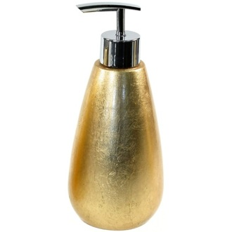 Soap Dispenser Tall Round Gold Soap Dispenser made in Pottery SO80-87 Gedy SO80-87