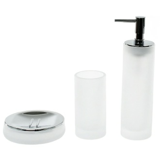 3 Piece White Satin Glass Bathroom Accessory Set Gedy TI280-02