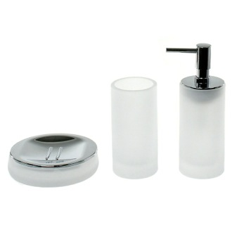 3 Piece White Satin Glass Bathroom Accessory Set Gedy TI281-02