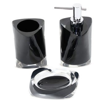 Bathroom Accessory Set Twist Black Accessory Set of Thermoplastic Resins TW200-14 Gedy TW200-14