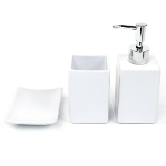 Verbena White Pottery Bathroom Accessory Set Gedy VE100