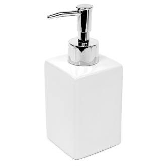 Square White Pottery Soap Dispenser Gedy VE81