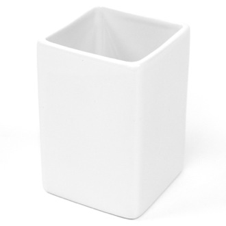 Square White Pottery Toothbrush Holder Gedy VE98-02