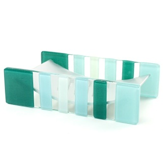 Light Blue or Green Glass/Aluminum Soap Holder Gedy VI11