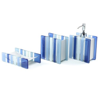 Bathroom Accessory Set Blue Square 3 Piece Accessory Set Gedy VI200-11