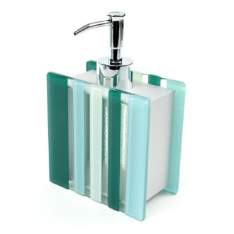 Soap Dispenser Unique Square Light Blue or Green Glass Soap Dispenser VI81 Gedy VI81