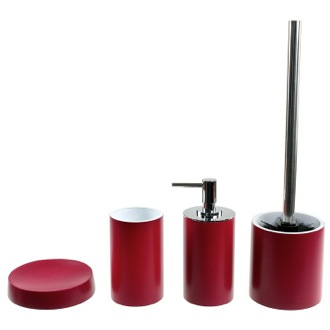 Bathroom Accessory Set Free Standing 4 Piece Ruby Red Accessory Set Gedy YU180-53