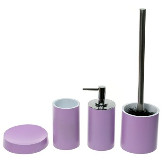 Bathroom Accessory Set 4 Piece Lilac Accessory Set, Free Stand, YU180-79 Gedy YU180-79