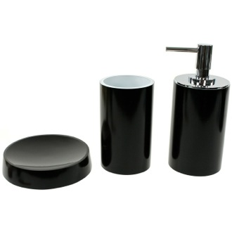 Black Bathroom Accessory Set with Tall Soap Dispenser Gedy YU280-14