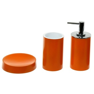 Orange Bathroom Accessory Set With Tall Soap Dispenser Gedy YU280-67