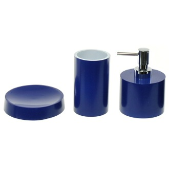 Bathroom Accessory Set Blue Bathroom Accessory Set With Short Soap Dispenser Gedy YU281-05