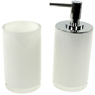 Bathroom Accessory Set White 2 Piece Bathroom Accessory Set with Tall Soap Dispenser, YU580-02 Gedy YU580-02