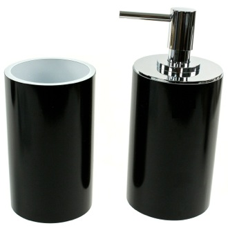 Bathroom Accessory Set Fashionable 2 Piece Black Bathroom Accessory Set, YU580-14 Gedy YU580-14