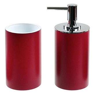 Ruby Red Fashionable 2 Piece Bathroom Accessory Set Gedy YU580-53