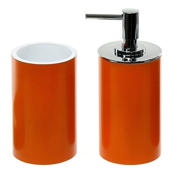 Stylish Orange 2 Piece Bathroom Accessory Set Gedy YU580-67