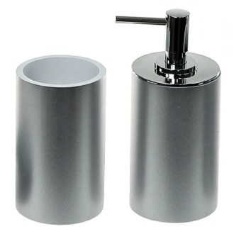 Stylish Silver 2 Piece Bathroom Accessory Set Gedy YU580-73