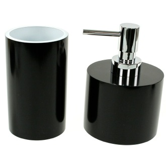 2 Piece Bathroom Accessory Set with Short Soap Dispenser Gedy YU581