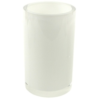 White and Round Toothbrush Holder in Resin Gedy YU98-02