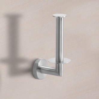 Round Brushed Nickel Vertical Toilet Paper Holder Gedy 5024-02-38