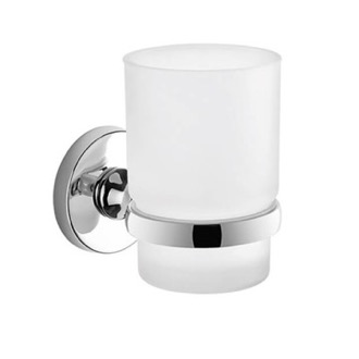 Wall Mounted Frosted Glass Toothbrush Holder With Chrome Mounting Gedy FE10-13