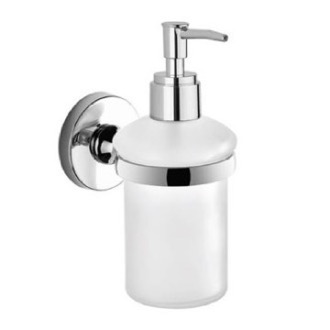Wall Mounted Rounded Frosted Glass Soap Dispenser With Chrome Mounting Gedy FE81-13