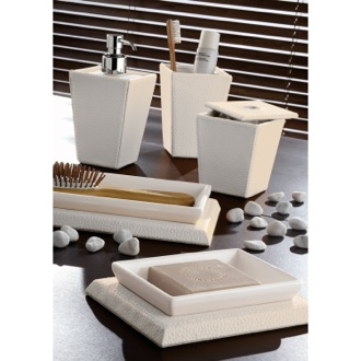 Bathroom Accessory Set Kyoto Faux Leather White Bathroom Accessory Set 1500-02 Gedy 1500-02
