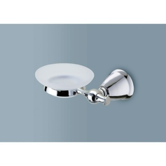 Frosted Glass Soap Dish with Polished Chrome Wall Mount Gedy LI11-13