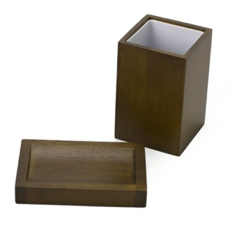 Bathroom Accessory Set Brown Wood Soap Dish and Tumbler Set PA511-31 Gedy PA511-31