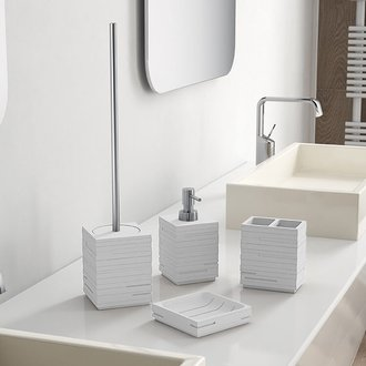 Quadrotto White Resin Bathroom Accessory Set Gedy QU100-02