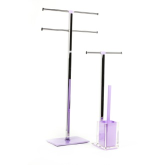 Bathroom Accessory Set Lilac Steel and Thermoplastic Resin Accessory Set Gedy RA2063-79