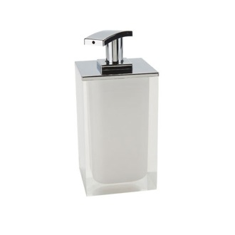Soap Dispenser Square Soap Dispenser Made From Resin in White Finish Gedy RA82-02